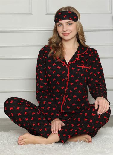 Akbeniz Kadın %100 Pamuk Önden Düğmeli Uzun Kol Pijama Takım 2722 Siyah